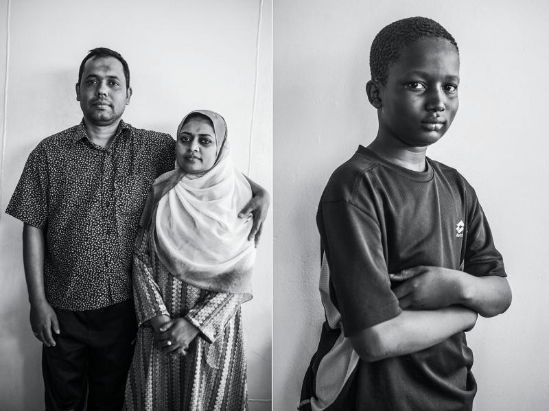 (L): Monir Uzzaman, thirty-seven, and his wife, Sazima, thirty-five, both nurses from Bangladesh by way of Libya. (R): Ibrahima Abprey, twelve, from Sierra Leone.