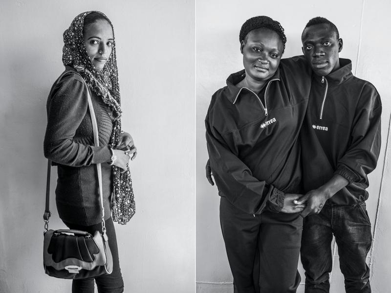 (L): Sahra Warkin, fifteen, a student from Ethiopia. (R): Abia, twenty-one, a hairstylist, and Bruno Max Akpeisiri, twenty-three, a caterer, from Nigeria by way of Libya.