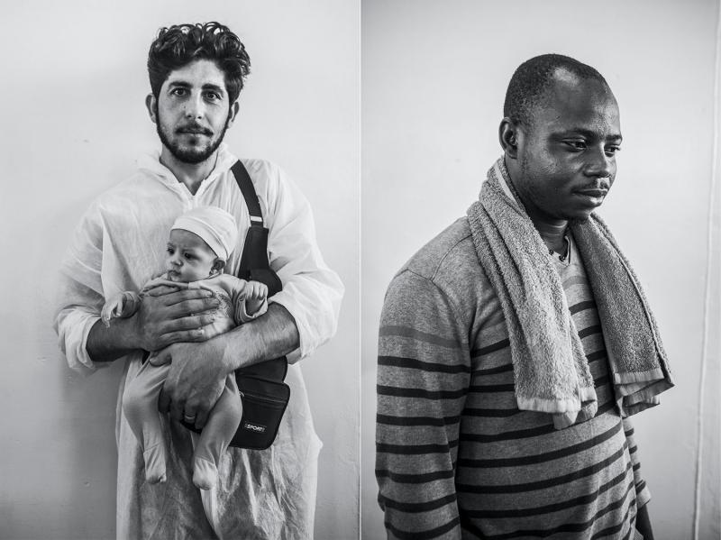 (L): Khalid Aljabawe, twenty-seven, and his son, from Syria. (R): Joef Ekene, twenty-four, a tiler from Nigeria.