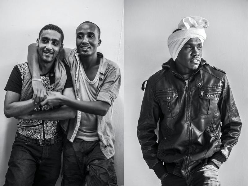 (L): Biif Cade and Abubakar Shuceyb, both seventeen, students from Somalia. (R): Salatadin, twenty-three, a student from Darfur.