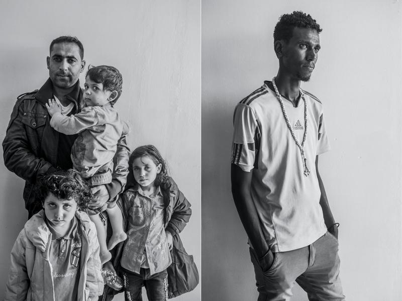 (L): Mohammed, thirty, with his children Eslam, Nour, and Quise, from Syria. (R): Ahmed Maame, seventeen, from Mogadishu.