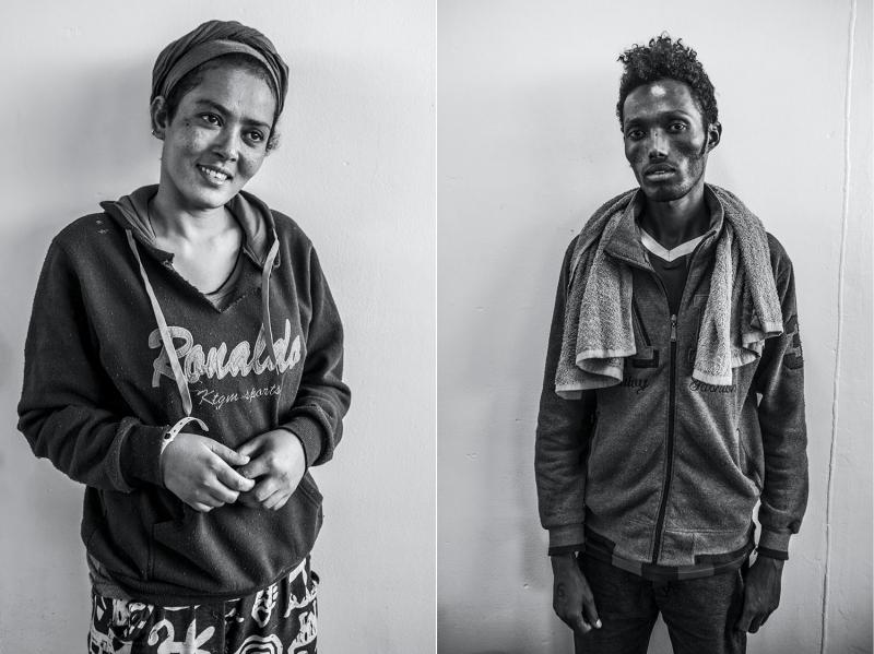 (L): Nebu Ftshaye, seventeen, a student from Eritrea. (R): Ahmed Nasiib, seventeen, a cosmetics salesman from Somalia.