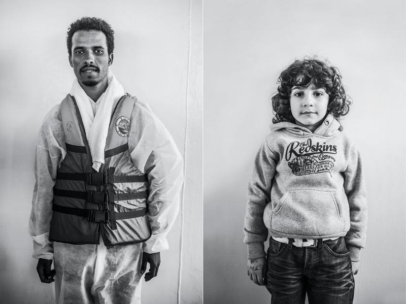 (L): Ibrahim Eigila, twenty-two, a student from Eritrea. (R): Ahmed, six, from Syria.