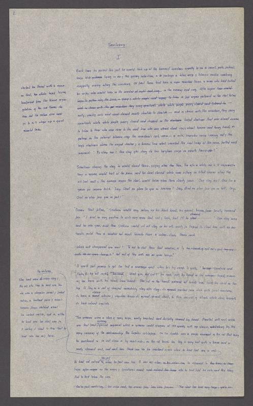 The original first manuscript page of Faulkner's Sanctuary, 1931. © 2014, Faulkner Literary Rights, LLC. All rights reserved. Used with permission, Lee Caplin, Executor. Courtesy of William Faulkner Foundation Collection, 1918-1959, Special Collections, University of Virginia Library, Charlottesville, VA.