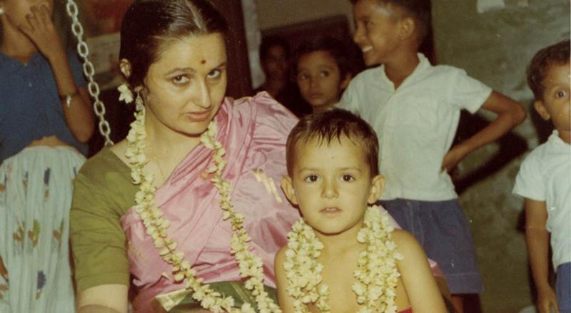 The author and his mother in Tiruchirappalli, Tamil Nadu, India, in 1969.