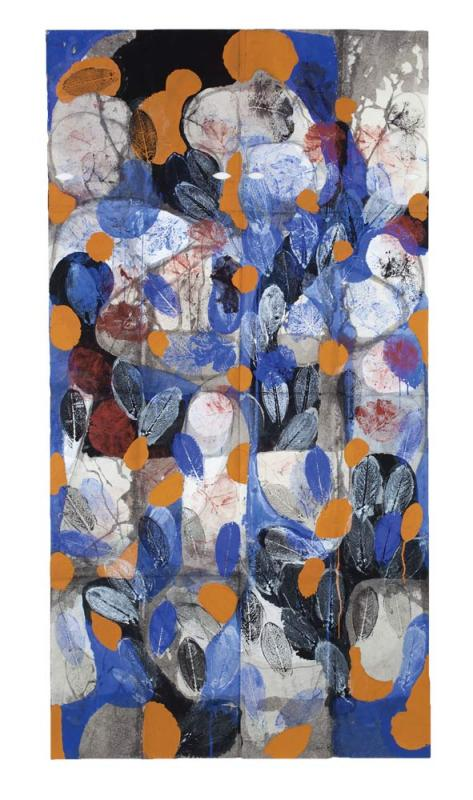 "<i>Blue Leaves, Summer Lac Du Bourdon, St Fargeau</i>, 2009/2010. Gouache, charcoal on paper, 72"" x 38 -1/2""."