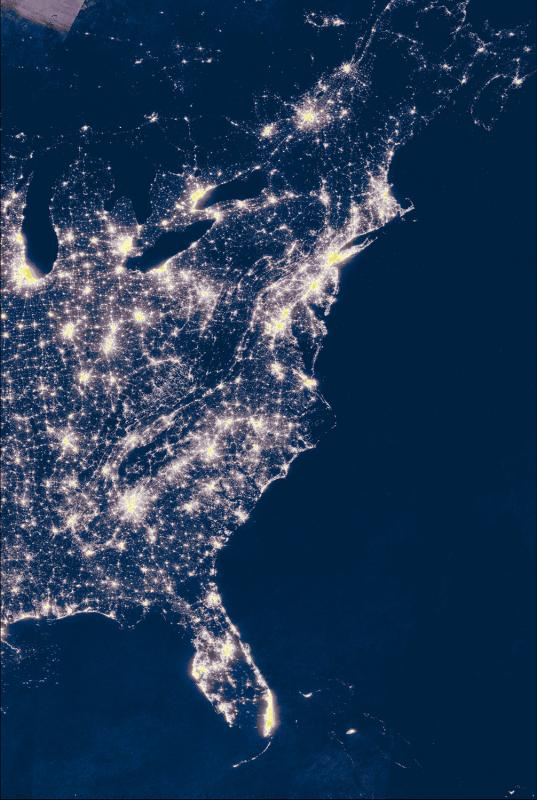 The Eastern Seaboard at night. March 2016. (Illustration by Jenn Boggs)
