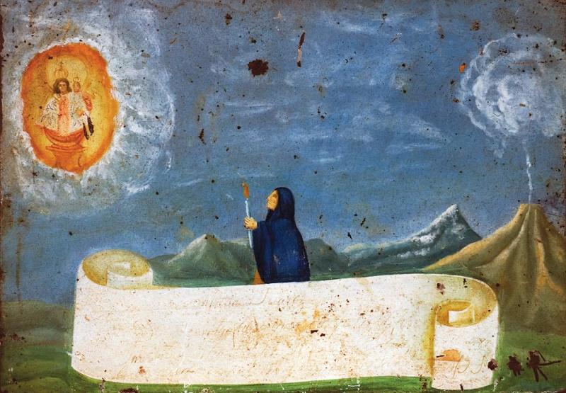 A solitary woman lights a candle to the Virgin of the Apocalypse as lava rocks rain down.
