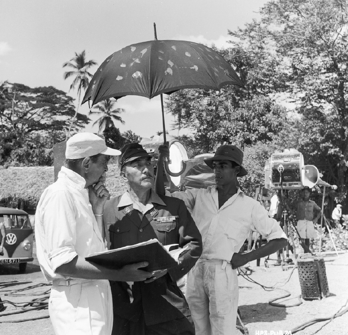 Director David Lean with Sessue Hayakawa, on the set of The Bridge on the River Kwai, 1957. (Hulton Archive/Getty Images)