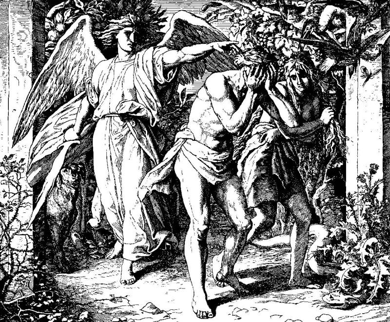 Julius Schnorr von Carolsfeld, Expulsion of Adam and Eve From the Garden of Eden, 1860.