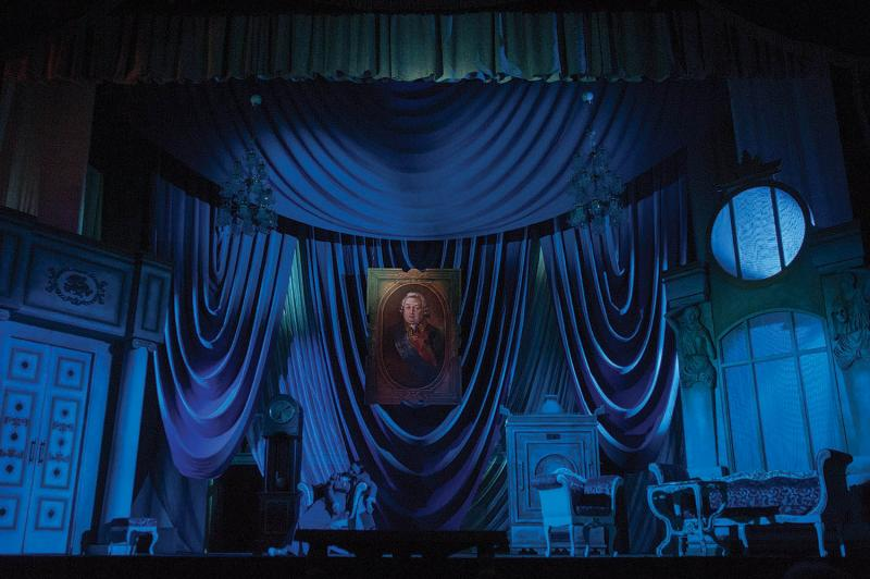 The set for Woe from Wit, a comedy by  Alexander Griboyedov, on March 13, 2014.