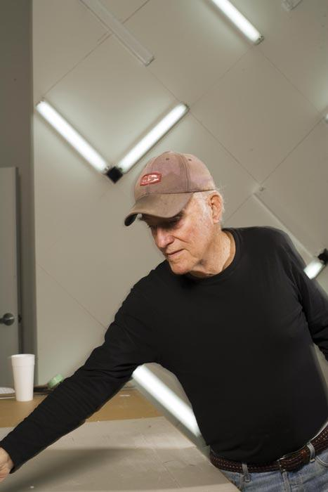 Irwin installing his work Light and Space at the Museum of Contemporary Art, San Diego, 2007.