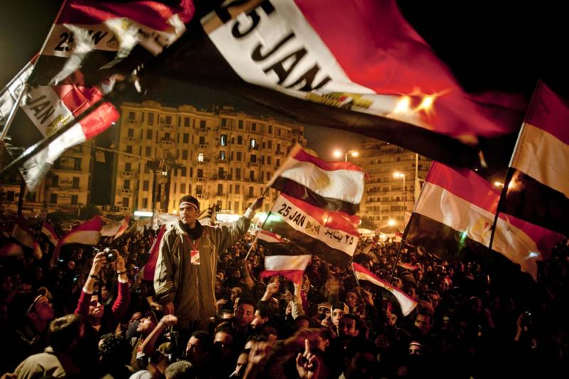 On the eighteenth day of protests in Tahrir Square, Egyptians waved flags and chanted slogans as they sensed the ouster of Mubarak was drawing near.
