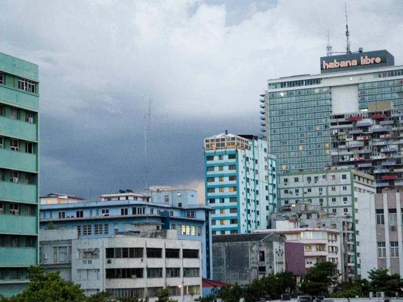 A stormy sky over the Havana Libre hotel in downtown Havana.