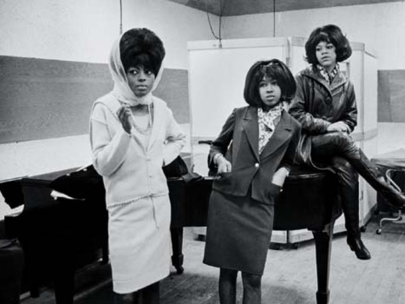 The Supremes (Diana Ross, Mary Wilson, and Florence Ballard) at Motown Studios. Detroit, 1965. (Magnum Photos)