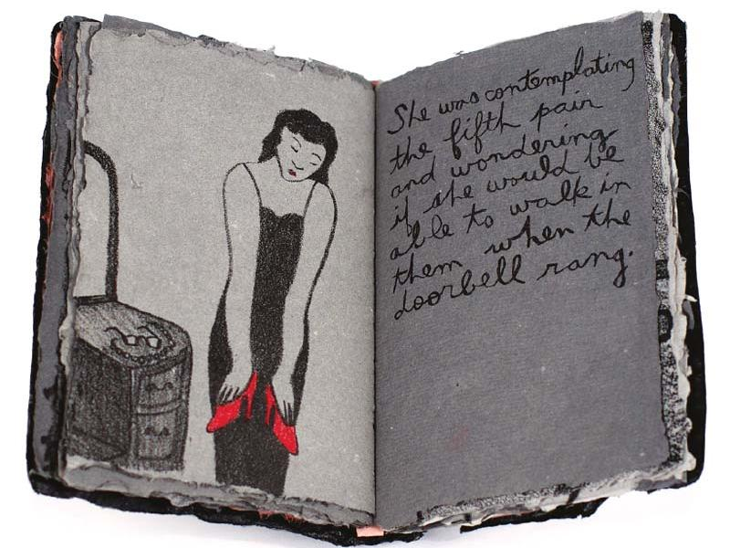 "Spring​ (2004). Artist's book, lithographs on handmade cotton and abaca paper, carbon and antique silver pigment, colored pencils, and acrylic paint. 6 x 4"" (book); 6 x 8"" (lithographs). Collection of Audrey Niffenegger, Chicago. Collaboration with Marilyn Sward."
