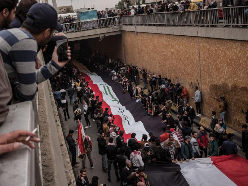 Protesters march from the Ministry of Higher Education to Tahrir Square.