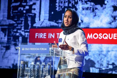 Al-Sharif delivering her historic speech in May 2012 at the Oslo Freedom Forum. She was honored at the event with the Vaclav Havel Prize for Creative Dissent. (Oslo Freedom Forum)