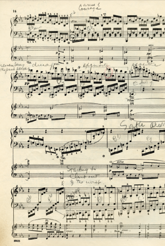 A page from Beethoven's Concerto No. 5 for piano, pulled from the stack that sits atop the Baer family Steinway grand.