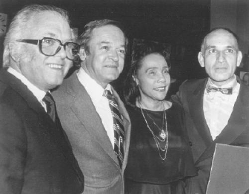 "Lord Richard ""Dickie"" Attenborough,  Frank Price, Coretta Scott King, and Ben Kingsley, at the Ghandi premiere event, Atlanta, 1982. (Courtesy of Frank Price)"