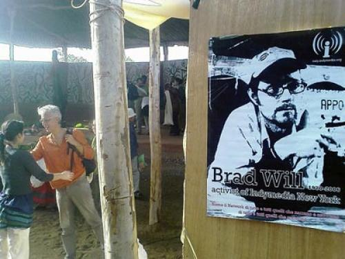 An Indymedia poster honors Brad Will, on display at a gathering of westerners in Mali this past February. (Don Meliton / CC)
